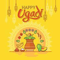Happy Ugadi. Template Greeting Card Traditional Festive Indian Food. Minimalist Style