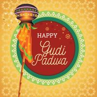Illustration with Decorated Background of Gudi Padwa Lunar New Year Celebration of India