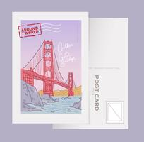 Golden Gate Bridge Landmark San Francisco Postcard Vector Illustration