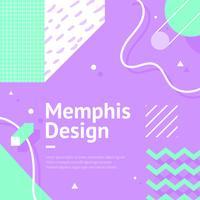 Memphis Background Purple Vector