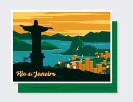 Rio De Janeiro Postcard Vector
