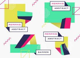 Abstract Geometric Memphis Banner Background Flat do vetor