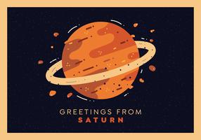 Saturn Planet Postcard Vector
