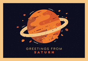 Saturn Planet Postcard Vector