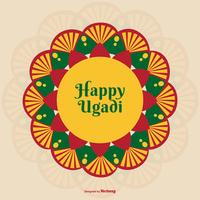Colorful Happy Ugadi Illustration