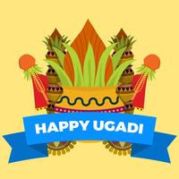 Flache Ugadi-Vektor-Illustration
