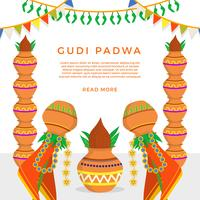 Flat Gudi Padwa Vector Illustration