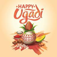 Resumen de vectores creativo para Ugadi feliz con ilustración de bonito y hermoso diseño