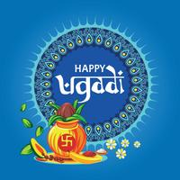 Template Greeting Card Set Holiday Accessories for Happy Ugadi