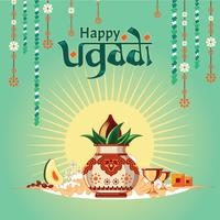 Illustration for Happy Ugadi with nice and beautiful design illustration