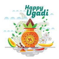 Happy Ugadi. Template Greeting Card Traditional Festive Indian Food