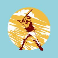 Abstract Baseball Player Vector