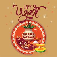 Happy Ugadi illustration. New Year's Day of Hindu calendar. Modern vector hand drawn calligraphy for your poster, banner, postcard, invitation or greeting card design
