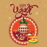 Gelukkige Ugadi-illustratie. Nieuwjaarsdag van de hindoe-kalender. Moderne vector hand getrokken kalligrafie voor uw poster, banner, briefkaart, uitnodiging of wenskaart ontwerp