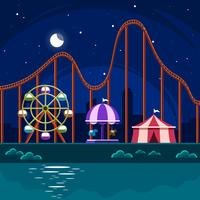 Parque de diversões com o roller coaster no vetor da noite