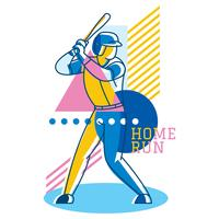 Abstract Baseball Player Geometric Vector