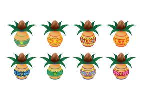 Establecer ilustración vectorial de Kalash con coco y hoja de mango
