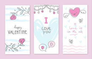 Collection de cartes de Doodle Valentine Hand Drawn