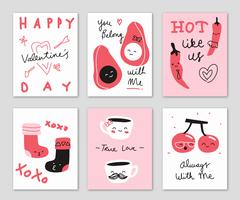 Cute Hand Drawn Doodle Valentine's Day Card Vector illustration