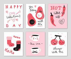 Nette Hand gezeichnete Gekritzel-Valentinstag-Karten-Vektor-Illustration