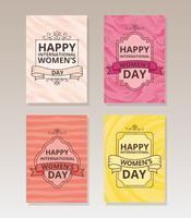 Vintage International Women's Day Cards vector
