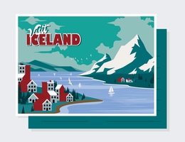 IJsland briefkaart Vector