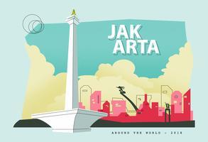 Ilustración del vector de la postal de la ciudad capital de Jakarta de Indonesia