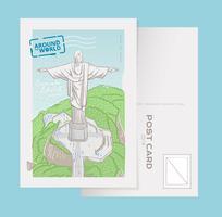 Cristo famoso de Corcovado el redentor en la ilustración del vector de la postal de Rio De Janeiro