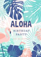 Creative Polynesian Birthday Party Vector Invitation