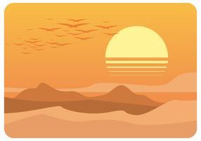 Eftermiddag Desert Landscape Vector