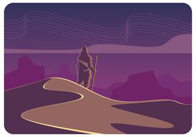 Vector de cielo nocturno del desierto