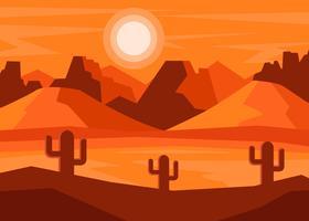 Paysage de désert avec le vecteur de cactus