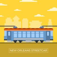 Plat New Orleans Streetcar Vector Illustration