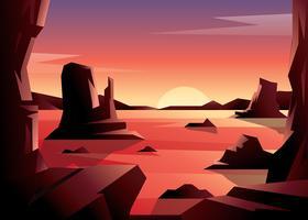 vetor do deserto do por do sol