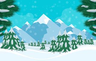 Vector ilustración de paisaje de invierno