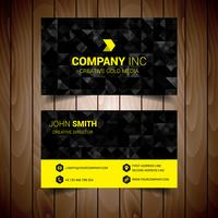 Tarjeta de visita corporativa abstracta negra y amarilla