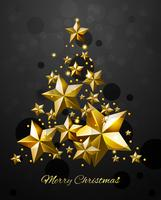 Christmas Tree With Gold Stars vector