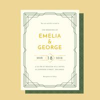 Art Decco Wedding Invitation Vector