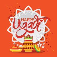Schablone der glücklichen Ugadi Gruß-Karte Traditionelles festliches indisches Lebensmittel