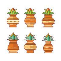 Vectorillustratie van Kalash met Coconut en Mango Leaf instellen