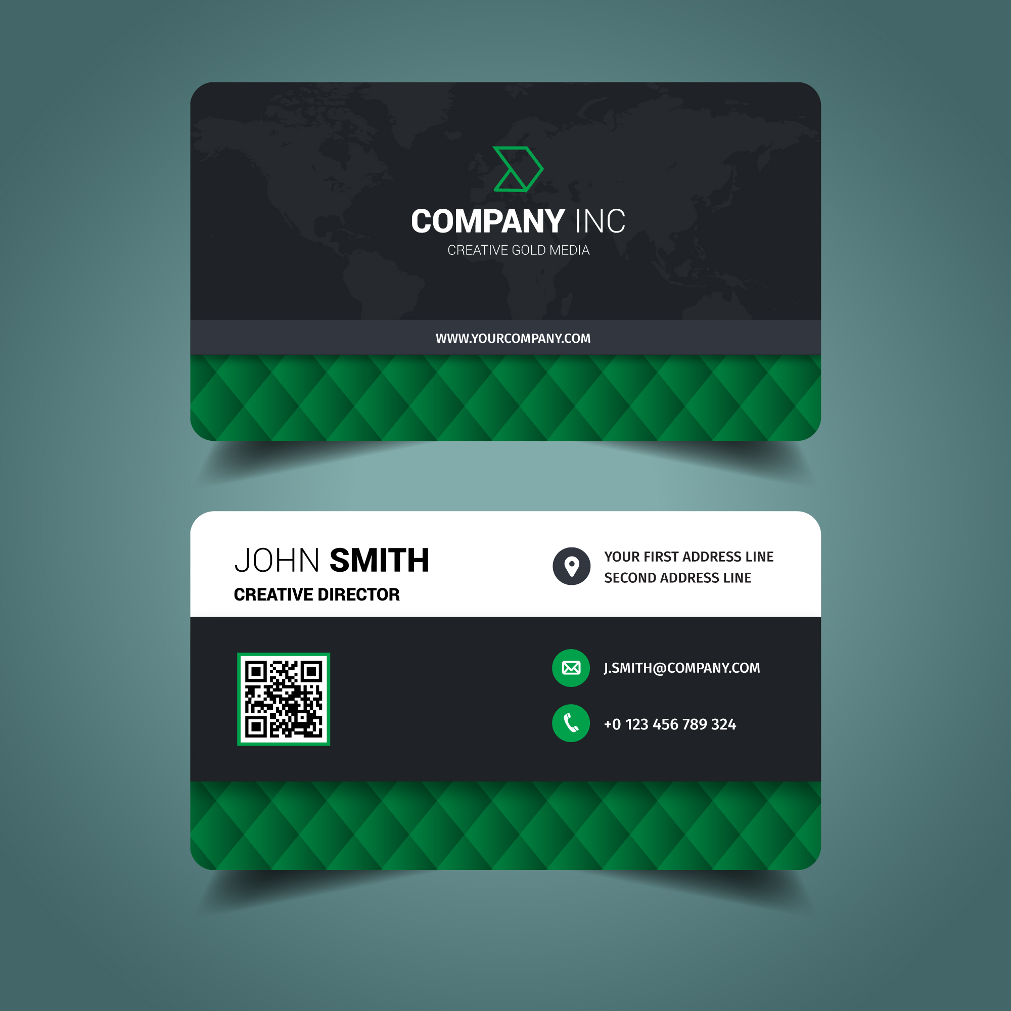 Green Elegant Business Card - Download Free Vector Art, Stock ...