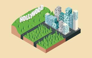 Isometric Los Angeles City Vector Illustration
