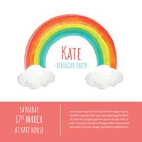 Rainbow Watercolor Template Vector