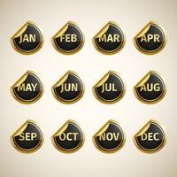 Maanden op gouden en zwarte