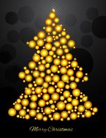 Christmas Tree With Small Gold Balls vector