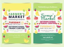 vector mercado de agricultores flyer