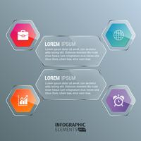 Hexagonal Transparent Infographics Template