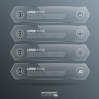 Glanzende verticale zeshoek Infographics