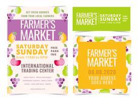 Folhetos do mercado do fazendeiro do vetor