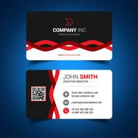 Black And Red Wavy Corporate Business Card vector
